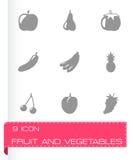 Vector zwarte fruit en groenten geplaatste pictogrammen Stock Foto's