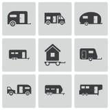 Vector zwarte geplaatste aanhangwagenpictogrammen Royalty-vrije Stock Afbeeldingen