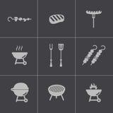 Vector zwarte geplaatste barbecuepictogrammen Stock Afbeelding