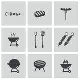 Vector zwarte geplaatste barbecuepictogrammen Stock Foto