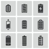 Vector zwarte geplaatste batterijpictogrammen Stock Fotografie