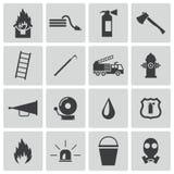 Vector zwarte geplaatste brandbestrijderspictogrammen Royalty-vrije Stock Fotografie