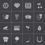 Vector zwarte geplaatste casinopictogrammen Royalty-vrije Stock Afbeelding