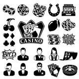Vector zwarte geplaatste casinopictogrammen stock illustratie