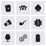 Vector zwarte geplaatste casinopictogrammen Stock Foto