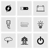 Vector zwarte geplaatste elektriciteitspictogrammen Royalty-vrije Stock Foto