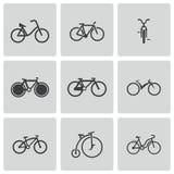 Vector zwarte geplaatste fietspictogrammen Stock Foto's