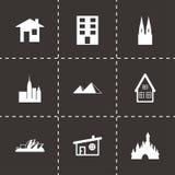 Vector zwarte geplaatste gebouwenpictogrammen Stock Afbeelding