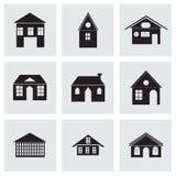 Vector zwarte geplaatste gebouwenpictogrammen Royalty-vrije Stock Afbeeldingen