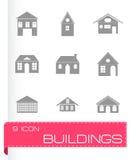 Vector zwarte geplaatste gebouwenpictogrammen Stock Fotografie