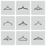 Vector zwarte geplaatste hangerpictogrammen Royalty-vrije Stock Foto's