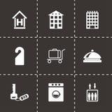 Vector zwarte geplaatste hotelpictogrammen Royalty-vrije Stock Afbeeldingen