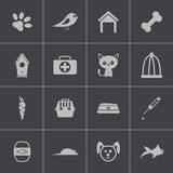 Vector zwarte geplaatste huisdierenpictogrammen Stock Afbeelding