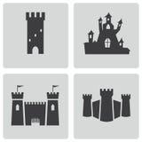 Vector zwarte geplaatste kasteelpictogrammen Stock Fotografie