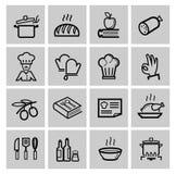 Vector zwarte geplaatste keukenpictogrammen stock illustratie