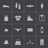 Vector zwarte geplaatste klerenpictogrammen Royalty-vrije Stock Foto's