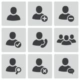 Vector zwarte geplaatste mensenpictogrammen Stock Foto's