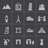 Vector zwarte geplaatste oriëntatiepuntpictogrammen Royalty-vrije Stock Afbeelding
