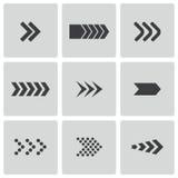 Vector zwarte geplaatste pijlenpictogrammen Stock Afbeeldingen