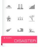 Vector zwarte geplaatste rampenpictogrammen Royalty-vrije Stock Afbeeldingen