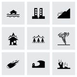 Vector zwarte geplaatste rampenpictogrammen Stock Fotografie