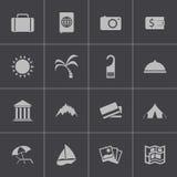 Vector zwarte geplaatste reispictogrammen Stock Fotografie