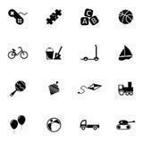 Vector zwarte geplaatste speelgoedpictogrammen Stock Fotografie