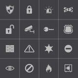 Vector zwarte geplaatste veiligheidspictogrammen Royalty-vrije Stock Afbeeldingen