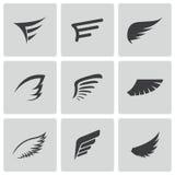 Vector zwarte geplaatste vleugelpictogrammen Royalty-vrije Stock Fotografie
