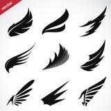 Vector zwarte geplaatste vleugelpictogrammen Stock Afbeelding