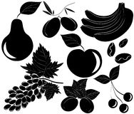 Vector zwarte geplaatste voedselpictogrammen Stock Fotografie