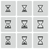 Vector zwarte geplaatste zandloperpictogrammen Royalty-vrije Stock Foto