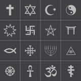 Vector zwarte godsdienstige geplaatste symbolen Stock Afbeelding