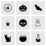 Vector zwarte Halloween-geplaatste pictogrammen Stock Foto