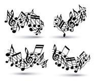 Vector zwarte heel golvende staven met muzieknoten stock illustratie