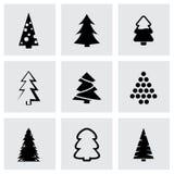 Vector zwarte het pictogramreeks van cristmasbomen Royalty-vrije Stock Afbeelding
