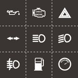 Vector zwarte het pictogramreeks van het autodashboard Royalty-vrije Stock Foto's