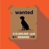 Vector - Zwarte hond op gewild document, conceptuele zaken Stock Foto