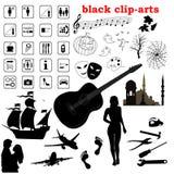 Vector zwarte klem-kunsten royalty-vrije stock fotografie