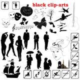 Vector zwarte klem-kunsten Stock Afbeelding