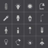 Vector zwarte lichte geplaatste pictogrammen Stock Afbeelding