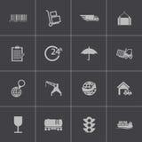 Vector zwarte logistische geplaatste pictogrammen Stock Afbeeldingen