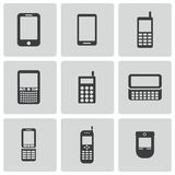 Vector zwarte mobiele geplaatste telefoonpictogrammen Stock Afbeeldingen