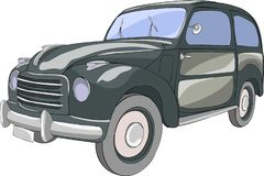Vector Zwarte personenauto op een witte achtergrond stock afbeelding