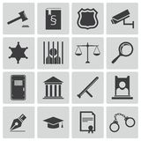 Vector zwarte rechtvaardigheidspictogrammen Stock Fotografie