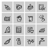 Vector zwarte schoonmakende geplaatste pictogrammen Royalty-vrije Stock Afbeelding