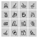 Vector zwarte schoonmakende geplaatste pictogrammen Stock Foto's