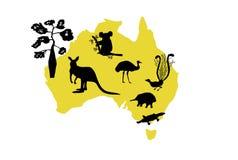 Vector zwarte silhouetten van dieren en een flessenboom op de gele contour van Australië vector illustratie