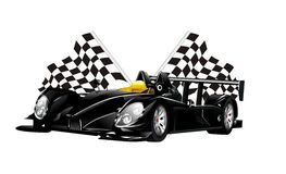 Vector zwarte spinraceauto's en vlaggen Stock Foto