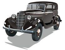 Vector zwarte uitstekende auto Stock Afbeelding